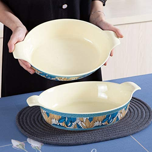 Jemirry Oval Baking Dish Ceramic Bakeware Pan for Gratin Oven Cooking Dishes, Au Gratin Pans, Lasagna and Casserole -Yellow+Green: Kitchen & Dining