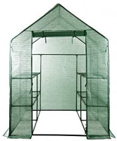 "Large Walk-in Greenhouse with PE Cover 57"" L x 57"" W x 77"" H, 3 Tier 8 Shelves, Window Version and Roll-Up Zipper Door, Waterproof Cloche Portable Green House, Outdoor Gardening Organic Greenhouse : Garden & Outdoor"
