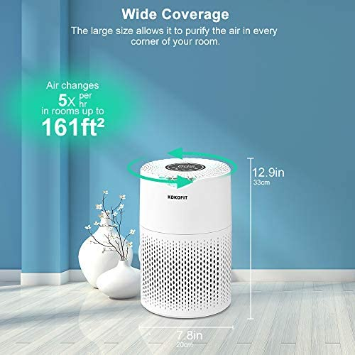 KOKOFIT Small Portable Air Purifiers for Home Large Room with True HEPA Filter Air Purifier for Allergies and Pets, Smokers, Mold, Pollen, Dust, Quiet Odor Up to 161 Sq (CADR 150): Kitchen & Dining