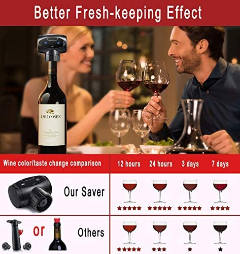 KTKUDY Electric Wine Bottle Stopper Vacuum, Automatic Wine Vacuum Pump with Stoppers Silicone Reusable Wine Cork Decorative Wine Bottle Saver Plug & Sealer, Funny Gift for Wine Lover: Kitchen & Dining