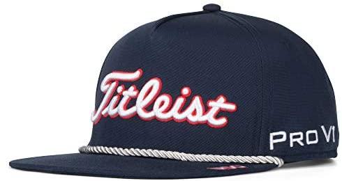 Titleist Stars & Stripes Tour Rope Flat Bill Golf Hat - Navy/White, Adjustable : Clothing