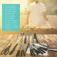 Portable Camping Kitchen Utensil Set, 27-Piece Stainless Steel Outdoor Cooking and Grilling Utensil Organizer Travel Set Perfect for Travel, Picnics, RVs, Camping, BBQs, Parties, Potlucks and more : Sports & Outdoors