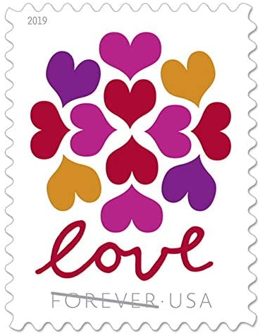 USPS Hearts Blossom Love Forever Stamps - Wedding, Celebration, Graduation (2 Sheets, 40 Stamps) 2019 : Office Products