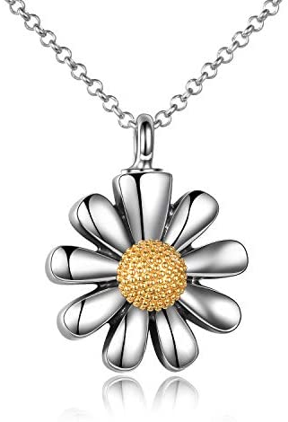 Sterling Silver Sunflower Urn Necklace for Ashes You Are My Sunshine Pendant Cremation Jewelry for Ashes of Loved Ones Keepsake: Clothing