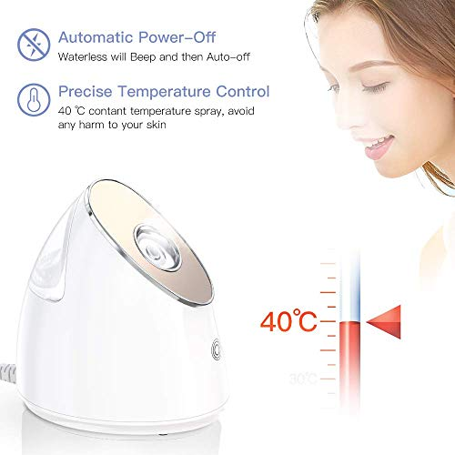 Facial Steamer - 100ml Nano Ionic Warm Mist Face Spa Humidifier, with Precise Temp Control, 15 Min Steam Time, 10X Penetration for Women Moisturizing Cleansing Pores Blackheads Acne Sinuses Impuritie: Beauty