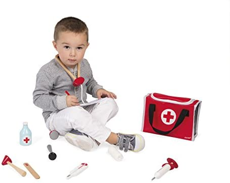 Janod Doctor's Suitcase – Classic Wooden Pretend Medical Playset - Durable First Aid Kit Includes Stethoscope and Travel Case – Develops Role Play and Imaginative Skills – Ages 3+ Years: Toys & Games