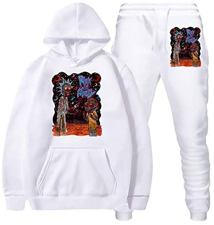 R-ick and M-orty Hoodie and Beamed Sweatpants Suit Hooded Sweatshirts Set for Man Woman Teen Fans at Men's Clothing store