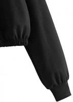 SweatyRocks Women's Cute Panda Print Sweatshirts Drawstring Hoodie Long Sleeve Pullover Crop Top at Women's Clothing store