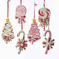 Kurt AdlerPEPPERMINT CANDY LOLLIPOP ORNAMENT - 6 ASSORTED: 2 EACH CHRISTMAS TREE, CANDY CANE AND ROUND LOLLIPOP: Home & Kitchen