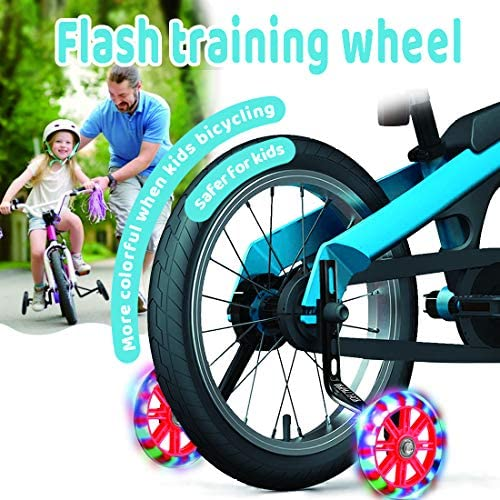 Kids' Bicycle Training Wheels Flash Mute Heavy Duty Rear Wheel with Stabilizers Mounted (for 12 14 16 18 20 inch Kids Bike) 1 Pair + 1 Reflective Tape + 2 Reflective Arm Bands (Black) : Sports & Outdoors