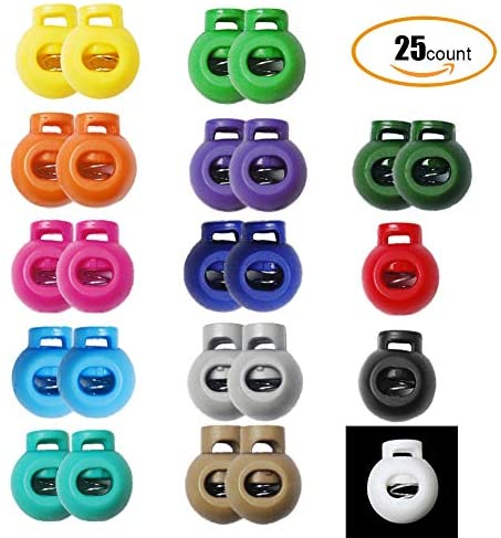 25pcs Accorted Colors Cord Lock Round Ball Toggle Stopper Plastic Cord Locks for Drawstrings Outdoor DIY Craft: Sports & Outdoors