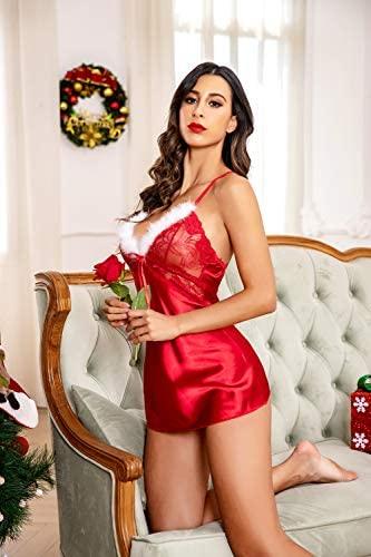 Avidlove Womens Christmas Lingerie Santa Babydolls Chemise Satin Nightwear at Women's Clothing store