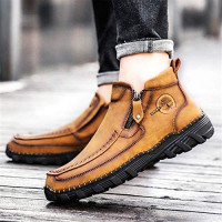 Govicta Leather Ankle Boots Hand Stitching Casual Loafers Boots for Men Slip On Driving Shoes Side Zipper Non Slip Comfy Brown Black Green Khaki Regular Plus Velvet Size 6.5-12 | Loafers & Slip-Ons