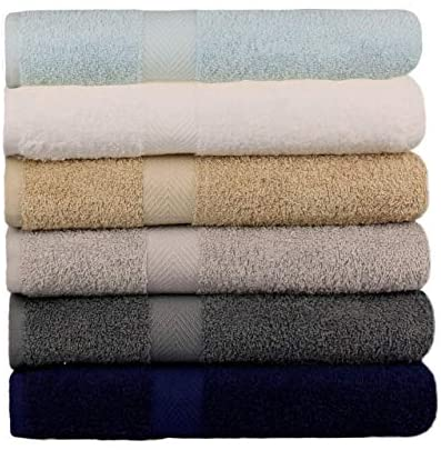 """BEST TOWEL 6-Pack Bath Towels - Extra-Absorbent - 100% Cotton - 27"""" x 54"""" (Multi, 6 Pack Bath Towel): Home & Kitchen"""