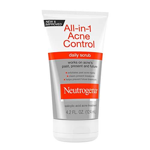 Neutrogena All-In-1 Acne Control Daily Face Scrub to Exfoliate and Treat Acne, Salicylic Acid Acne Treatment, 4.2 fl. oz (Pack of 3): Beauty