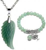 Top Plaza Reiki Healing Crystal Quartz Gemstones Jewelry Angel Wings Carved Stone Pendant Necklace Tree of Life Charm Stretch Bracelet Set-Rose Quartz #1: Jewelry