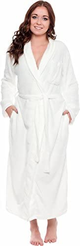 Silver Lilly Women's Full Length Luxury Long Bathrobe - Soft Plush Comfy Long Robe (Sizes Small - Plus Size XXL) at Women's Clothing store