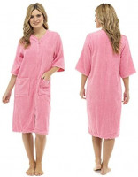 Tom Franks Ladies Cotton Terry Zip Front Gown at Women's Clothing store