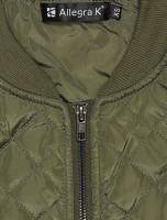 Allegra K Women's Raglan Long Sleeves Quilted Zip Up Bomber Jacket at Women's Coats Shop