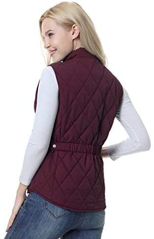 SPOEAR Women's Padded Vest Zip Up Quilted Vest Jacket Zipper Pockets Golf Puffer Vest Gilet: Clothing