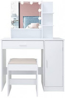Vanity Set with 10 Light Bulbs, Makeup Table Vanity Dressing Table, 1 Large Drawer, 1 Storage Cabinet,1 Cushioned Stool for Bedroom, Bathroom,White: Kitchen & Dining