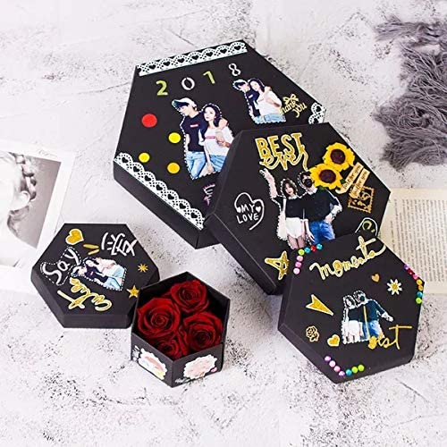 EKKONG Explosion Gift Box, DIY Handmade Photo Album Scrapbooking, Creative Explosion Box, Gift Box with 6 Sides for Birthday, Anniversary, Mother's Day, Wedding, Valentine's Day, Christmas: Furniture & Decor