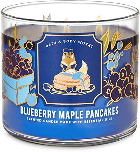White Barn Candle Company Bath and Body Works 3-Wick Scented Candle w/Essential Oils - 14.5 oz - Blueberry Maple Pancakes (Wild Blueberries, Griddle Fresh Pancakes, Warm Maple Syrup): Home Improvement