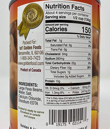 Golden Harvest Large Fava Beans, High in Fiber, No Cholesterol, 20.5 oz, (582g) (Pack of 6) : Grocery & Gourmet Food