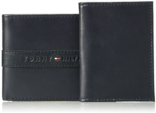 Tommy Hilfiger Men's RFID Blocking Leather Wallet – Slim Bifold with 6 Credit Card Pockets and Removable Id Window, Navy, One Size at Men's Clothing store