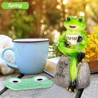 """Frog Statue Figurine Home Decor, 6"""" Frog Sitting On Stone Statue Drinking Coffee Sculpture, Personalized Collectible Mascot for Indoor Outdoor Yard Garden Decoration (Coffee gets me Jumpin Ornament): Home & Kitchen"""