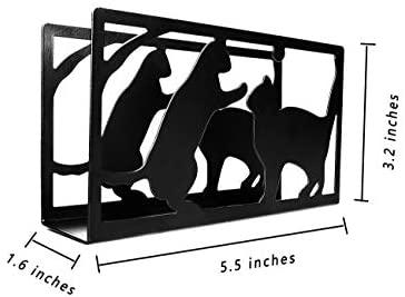 YEAVS Upgrade Napkin Holders for Kitchen Restaurant Picnic Table, Napkins Stand Dispenser Modern Décor (Cat, Black): Kitchen & Dining