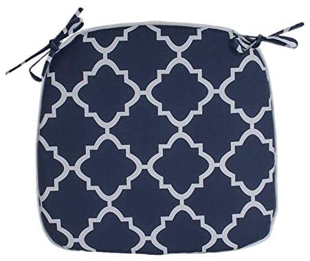 IN4 Care Outdoor Indoor Chair Seat Cushions with Ties Set of 2, Patio Chair Pads 16x17 Inch for Home Office Patio Furniture Garden Decoration (Geometry Navy) : Garden & Outdoor