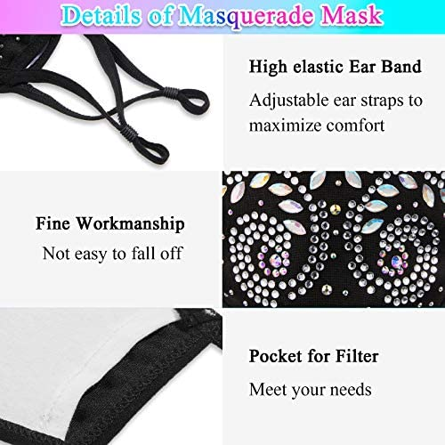 6 Pieces Crystal Rhinestone Face Mask Bling Masquerade Face Covering Adjustable Ball Party Nightclub Mouth Covering for Girls Women: Clothing