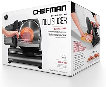 Chefman Die-Cast Electric Deli & Food Slicer Cuts Meat, Cheese, Bread, Fruit & Vegetables, Adjustable Slice Thickness, Stainless Steel Blade, Safe Non-Slip Feet, For Home Use, Easy To Clean, Black: Kitchen & Dining