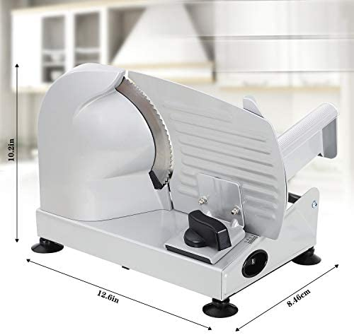 Meat Slicer, Anescra 200W Electric Deli Food Slicer with Two Removable 7.5'' Stainless Steel Blades and Food Carriage, Child Lock Protection, 0-15mm Adjustable Thickness Food Slicer Machine- Silver: Kitchen & Dining