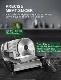 "AICOK Meat Slicer Electric Deli & Food Slicer for Home Use, 7.5"" Removable Stainless Steel Blade with Adjustable Thickness Dial(0-15mm) for Meat, Cheese, Bread, Include Food Pusher and Non-Slip Feet: Kitchen & Dining"