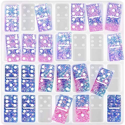 Domino Resin Mold,1 Set of 28 Cavities Dominoes Silicone Epoxy Casting Molds Handmade DIY Crafts (White): Arts, Crafts & Sewing