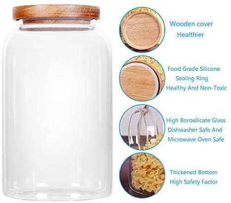 SAIOOL Modern Design Transparent Glass Food Storage jars, Food storage containers glass ,100FL OZ(3000ml)  Enlarged Thickened with Sealed Wooden Lid to Store Food, herbs, Tea, Easy to Use and Clean: Home Improvement