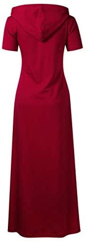 GloryStar Women Long Sleeve Pullover Hoodie Dress Stripe Pocket Slim Sweatshirt Casual Maxi Dress at Women's Clothing store
