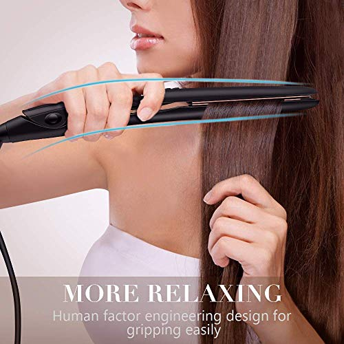 Professional Hair Straightener Titanium Flat Iron for Hair: FURIDEN Hair Straightening and Curling Iron 2 in 1 with 1 Inch Plates, Thin Flat Iron for All Hair Types with Dual Voltage, Black : Beauty