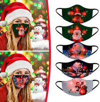 TopLAD 5PC Mixed Pack Christmas Glowing Face_Mask Christmas Luminous Face_Masks Reusable Adjustable Colorful Light Up Face_Mask for Women Men Christmas Party (B): Sports & Outdoors