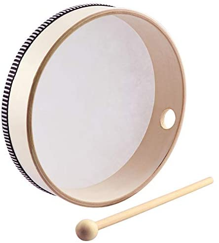 HiGift 8 Inch Hand Drums Kids Percussion Preschool Wood Frame Drum with Wooden Drum Beater: Musical Instruments