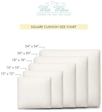 The White Willow Memory Foam Square Decorative Throw Cushion Sham Pillow Insert Stuffing Filler 18 Inch X 18 Inch for Bed,Sofa,Couch: Home & Kitchen
