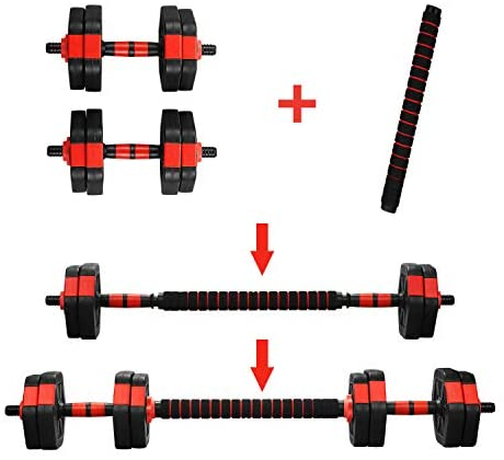 GDY 2 in 1 Adjustable Dumbbell Set, 22/33/44/66/88 LBS Lifting Dumbbells Gym Workout Dumbbell Set with Connecting Rod (66) : Sports & Outdoors