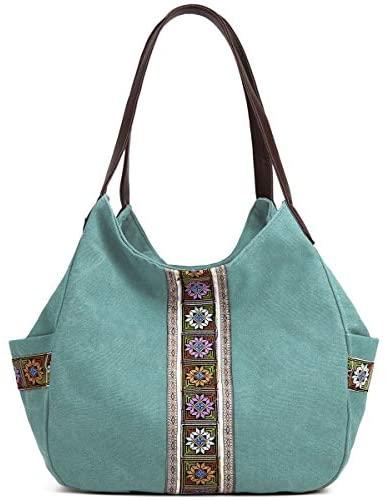 Worldlyda Women Canvas Hobo Purse Multi Pocket Tote Shopper Shoulder Bag Casual Top Handle handbag with Embroidery Ethnic (Upgraded Large Blue): Clothing