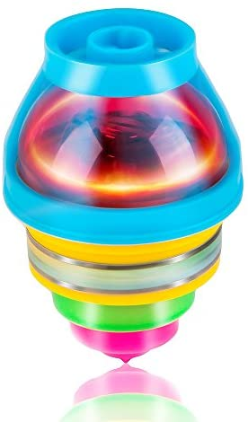 PROLOSO 15-Pack LED Light Up Flashing UFO Spinning Tops with Gyroscope Novelty Bulk Toys Party Favors: Toys & Games