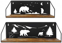 Giftgarden Floating Shelves for Wall with Unique Adorable Bears Cutouts, Rustic Wood Wall Storage Shelf Bear Decor for Bathroom Bedroom Living Room Kitchen Cabin Lodge, Black, Set of 2: Kitchen & Dining