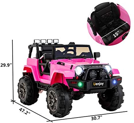 Uenjoy Ride on Car 12V Battery Power Children's Electric Cars Motorized Cars for Kids with Wheels Suspension,Remote Control, 3 Speeds, Head Lights,Music,Bluetooth Remote Controller,Pink: Toys & Games