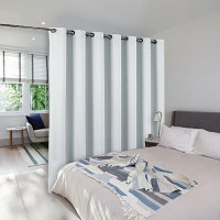 NICETOWN Room Divider Curtain, Sliding Door Curtain, Wide Width Thermal Drapes, Absorb Noise, Room Darkening, Vertical Blinds for Patio Door (Greyish White, Width 100 inches, Length 95 inches): Home & Kitchen