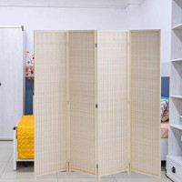 Room Divider Privacy Screen Folding 4 Panel 72 Inches High Portable Room Seperating Divider, Handwork Bamboo Mesh Woven Design Room Divider Wall, Room Partitions and Dividers Freestanding, Natural